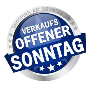 """Button mit Banner """" VERKAUFSOFFENER SONNTAG """""""